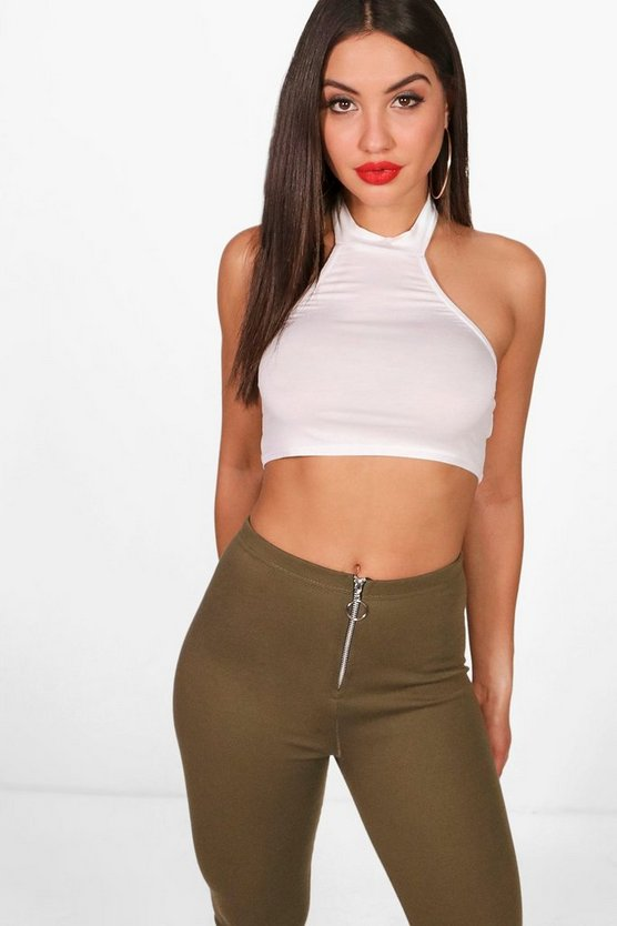 Libby Basic High Neck Scoop Back Crop