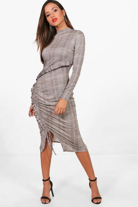 Check Asymmetric Frill With Ruching Midi Dress