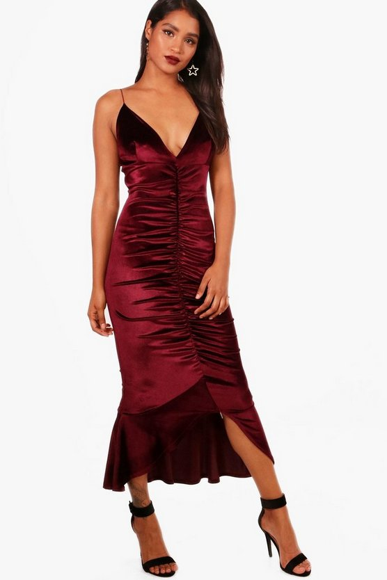 Sophie Velvet Asymmetric Ruching Midaxi Dress