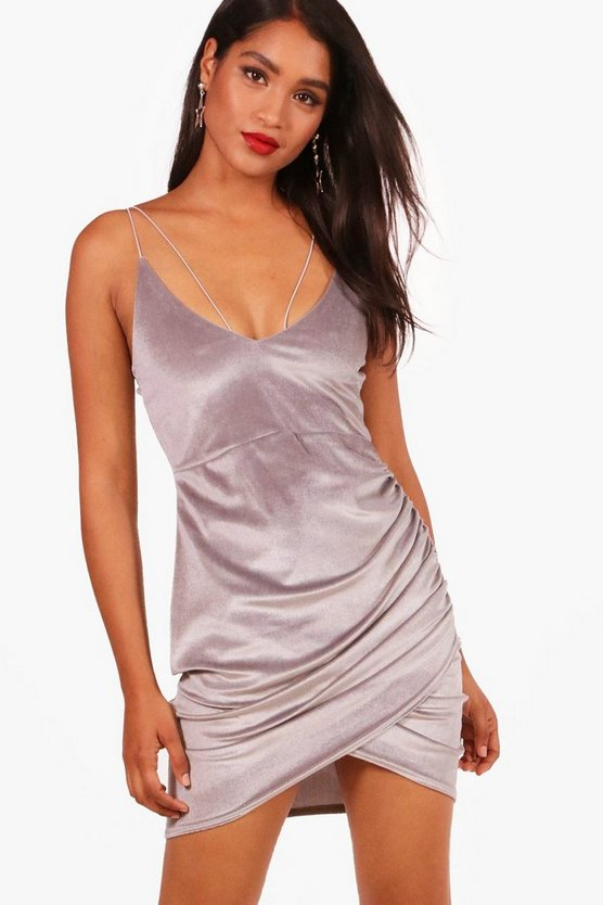 Double Strap Wrap Detail Velvet Bodycon Dress