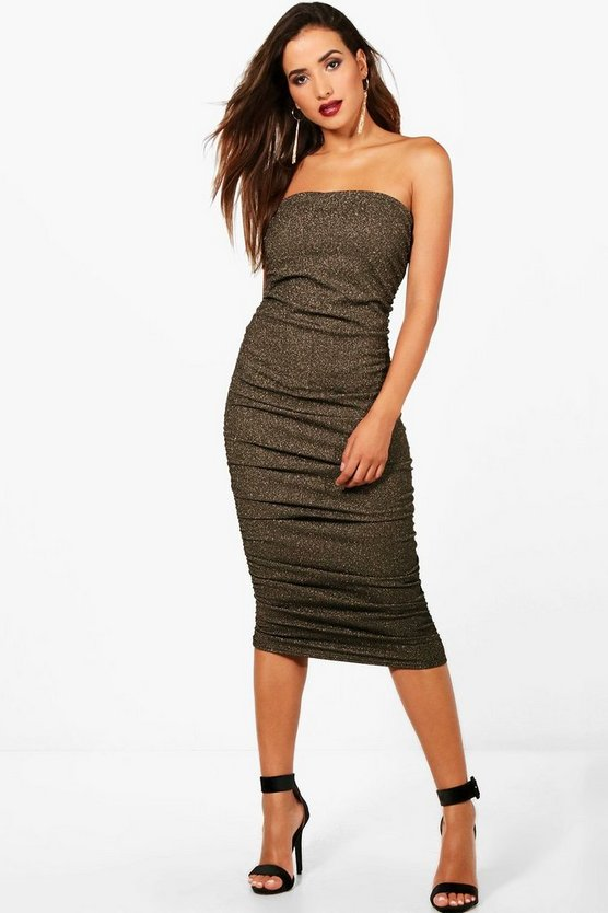 Maddie Ruched Metallic Bandeau Midi Dress