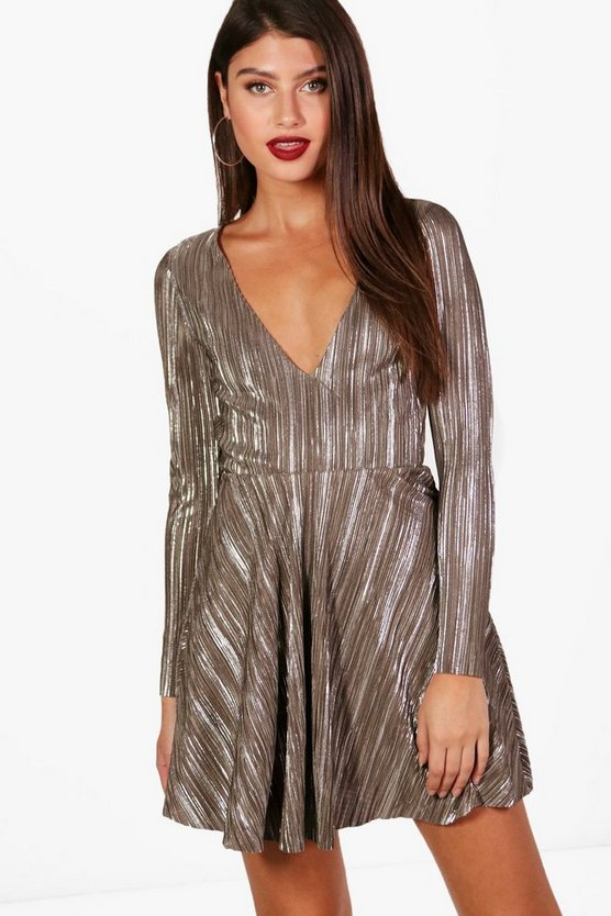 Hallie Metallic Pleated Skater Dress