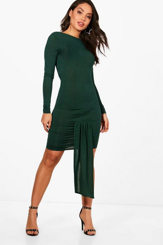 Open Back Ruched Detailing Slinky Bodycon