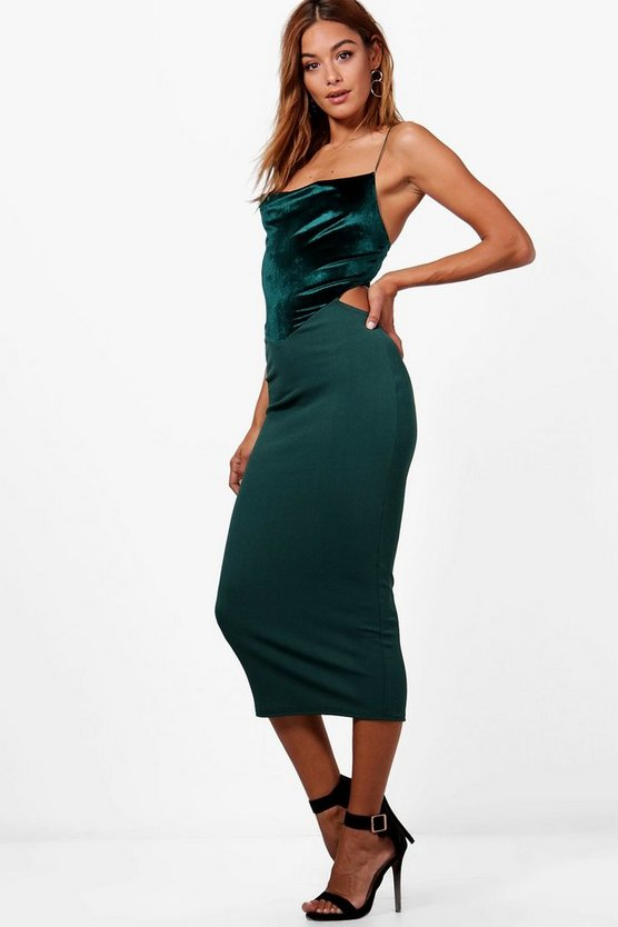 Emily Cowl Neck Velvet Contrast Midi Dress