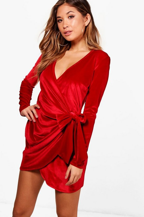 Tia Velvet Draped Tie Side Bodycon Dress