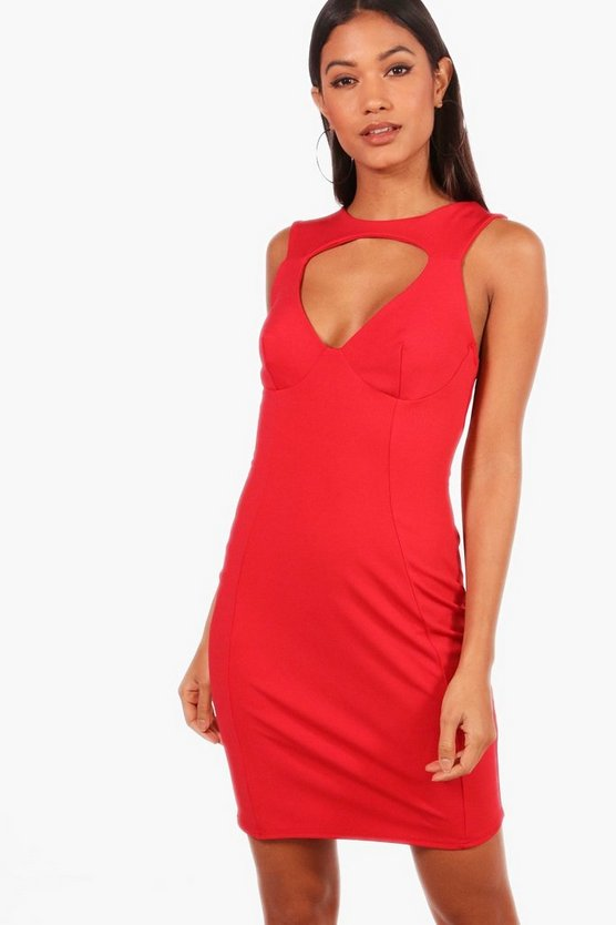 Under Bust Wire Cut Out Bodycon Dress