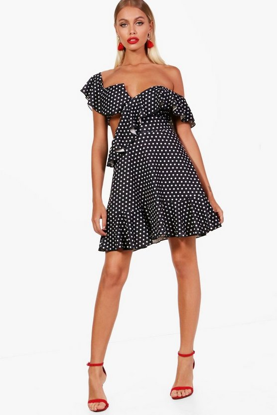 Polka Dot One Shoulder Frill Detail Skater Dress