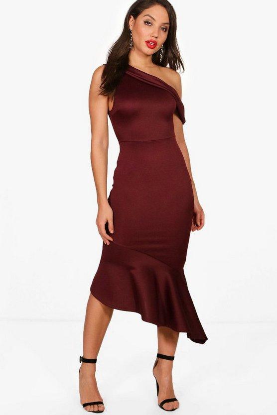 Mia One Shoulder Asymmetric Frill Midi Dress