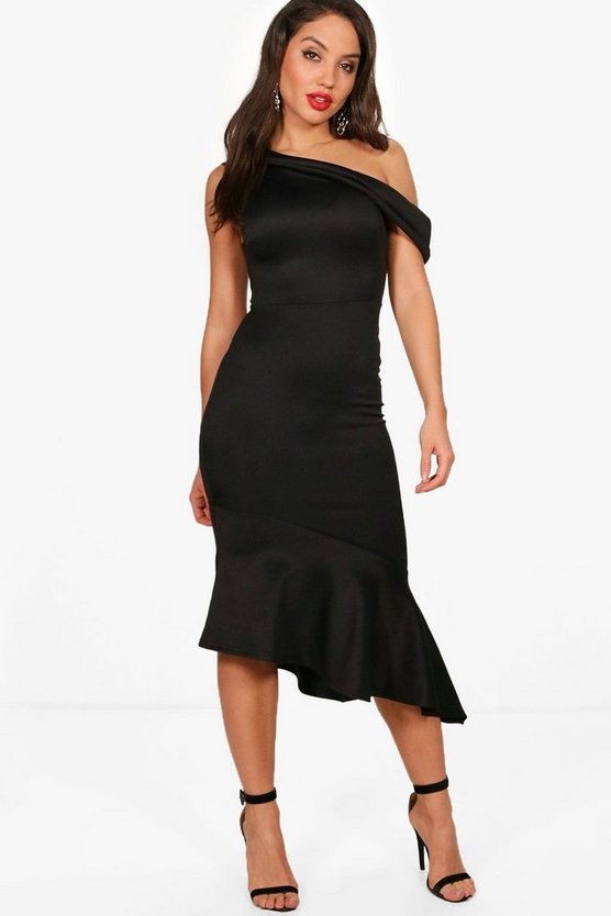 One Shoulder Asymmetric Frill Midi Dress