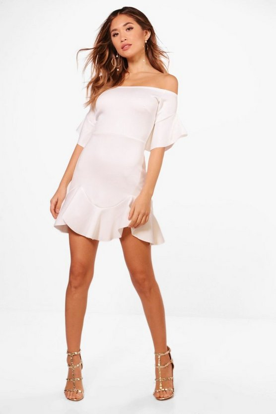 Off The Shoulder Ruffle Skater Dress
