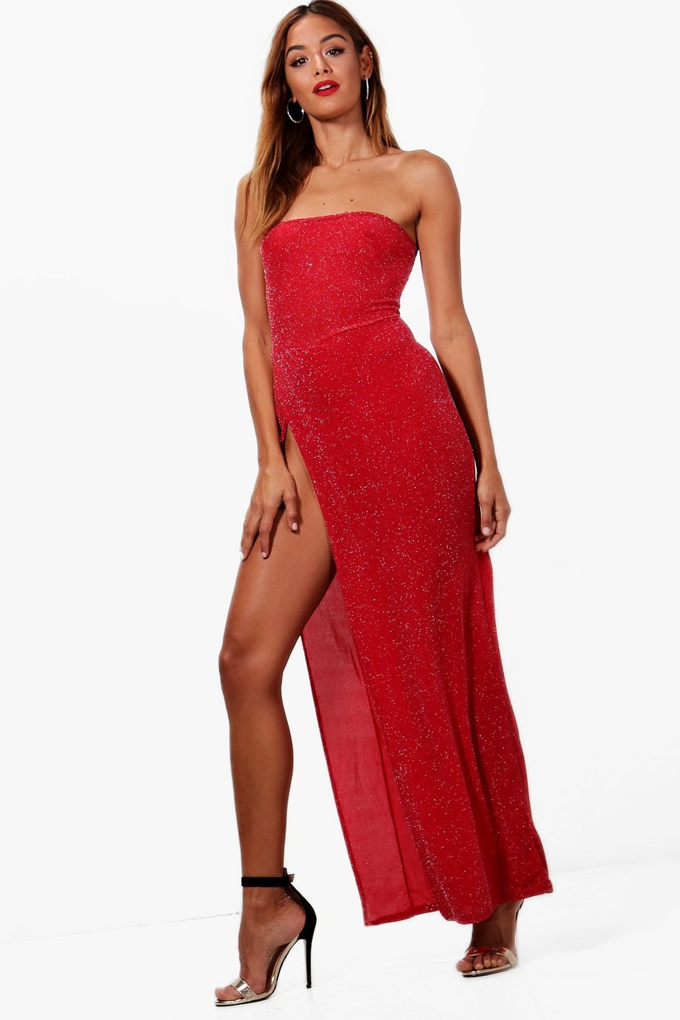 Red maxi dress with split