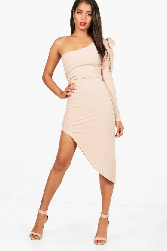 Rib Bow One Shoulder Ruched Midi Dress