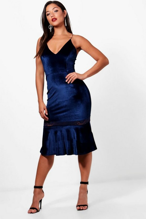 Velvet Lace Insert Frill Hem Midi Dress