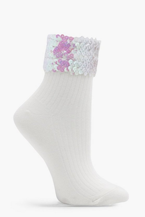 Emily Ribbed Sequin Top Ankle Socks