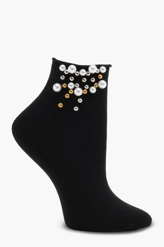 Ella Pearl Embellished Roll Top Ankle Socks