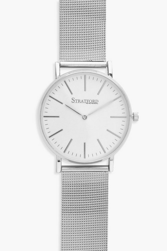 Evelyn Mesh Strap Big Dial Watch