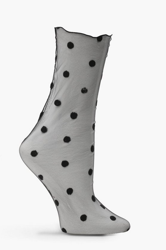 Ellie Polka Dot Mesh Ankle Socks