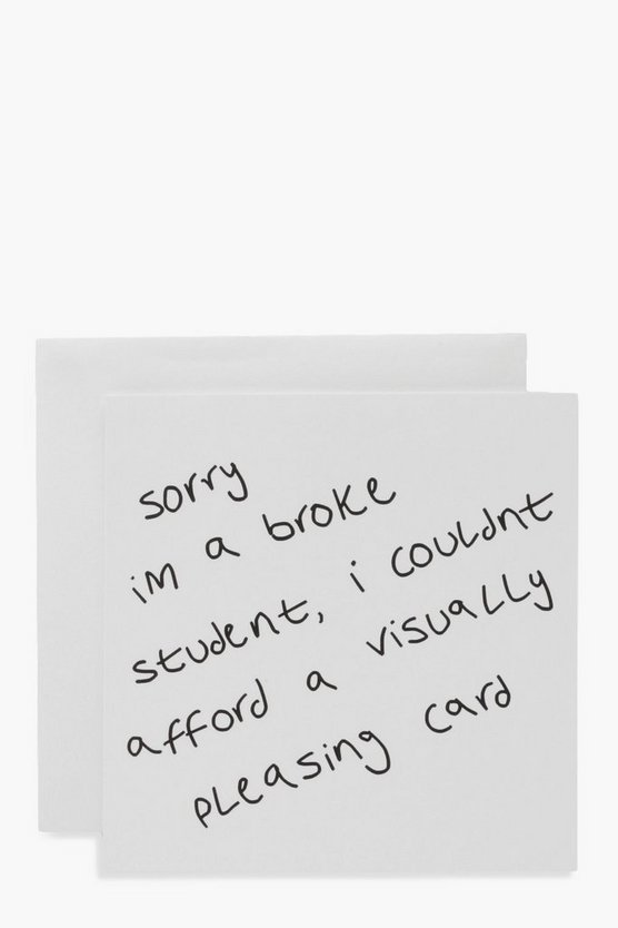 Broke Student Birthday Card