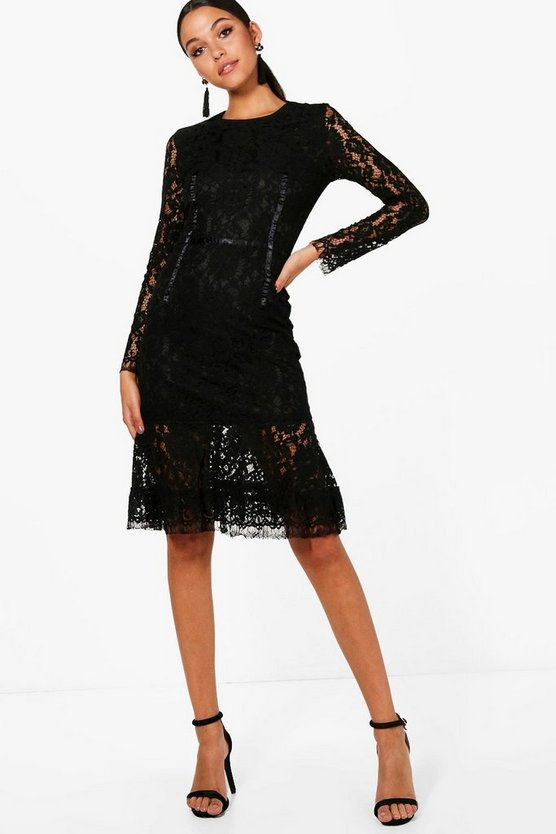 Leah Embroidery Lace Fluted Hem Midi Dress