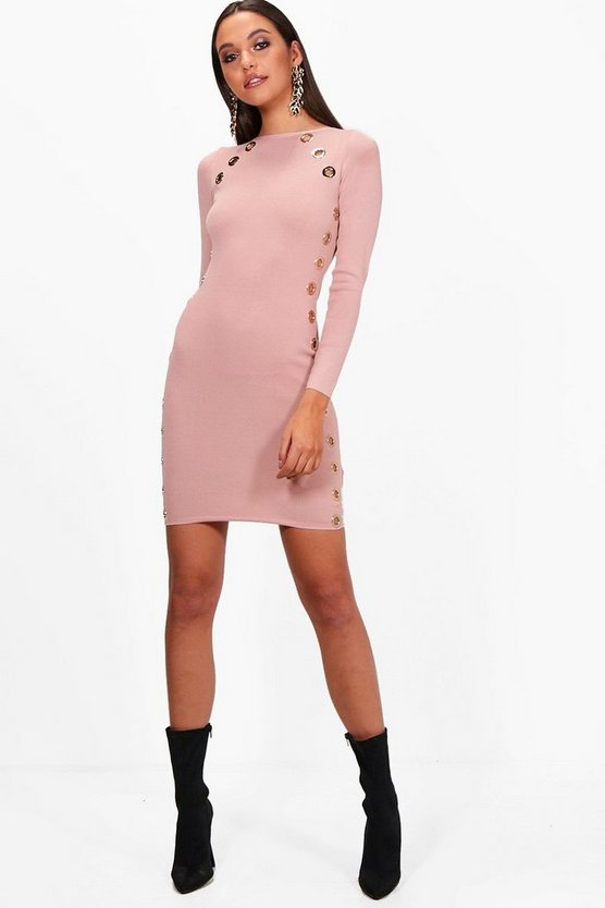 Eyelet Detail Bandage Bodycon Dress
