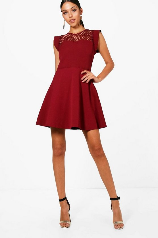Lara Crochet Lace Top Structured Skater Dress