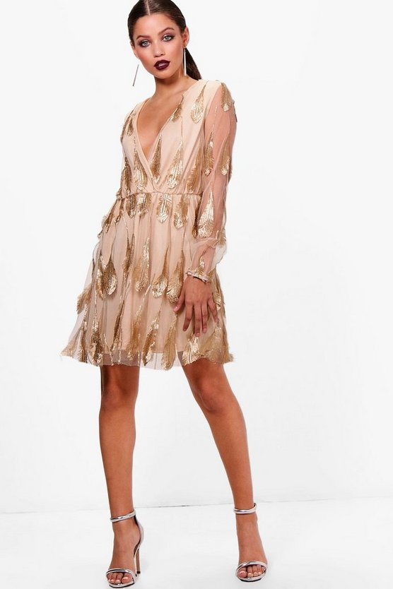 Jade Gold Leaf Embroidery Skater Dress