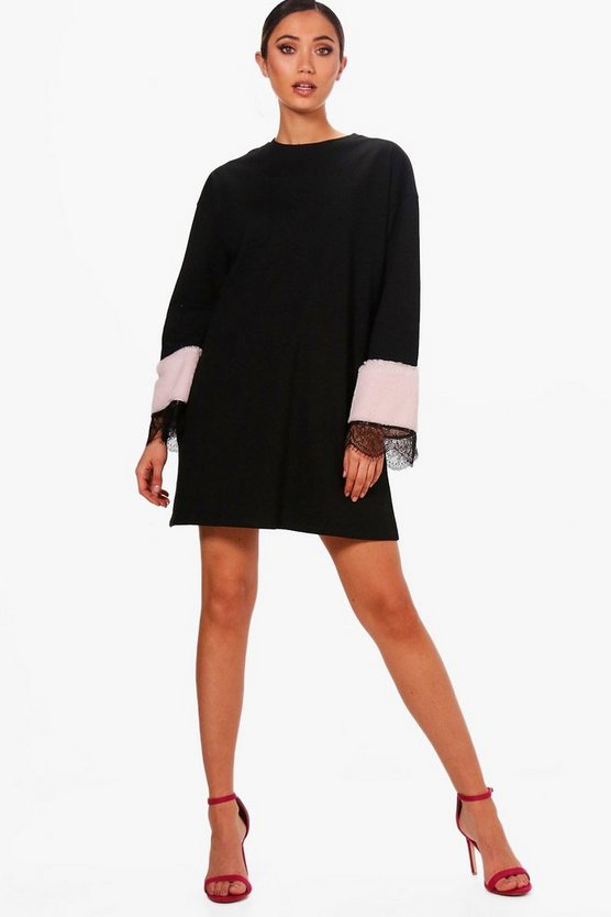 Faux Fur Trim Lace Detail Sweat Dress