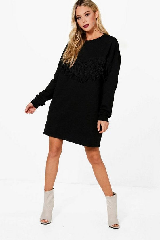 Nicki Tassel Detail Sweat Dress
