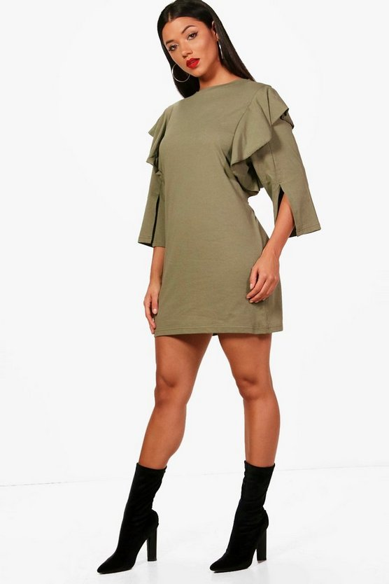 Ruth Ruffle Sleeve Thick Jersey T-Shirt Dress