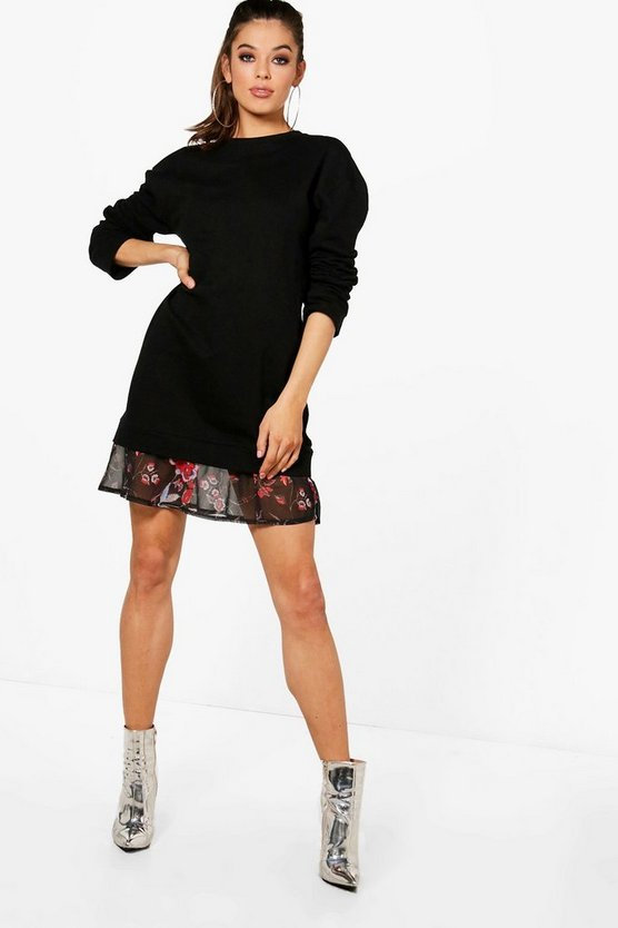 Floral Double Layer Sweat Dress
