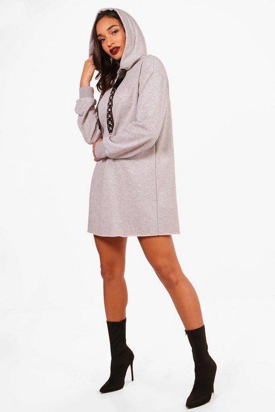Julia Jewelled Drawcord Hooded Sweat Dress