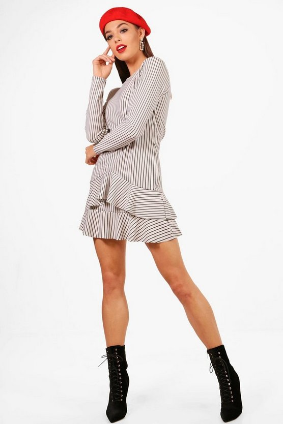 Knot Front Ruffle Hem Shift Dress