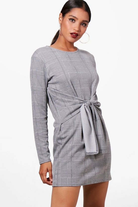 Harper Knot Front Checked Shift Dress