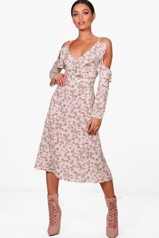 Fizz Floral Cold Shoulder Midi Dress