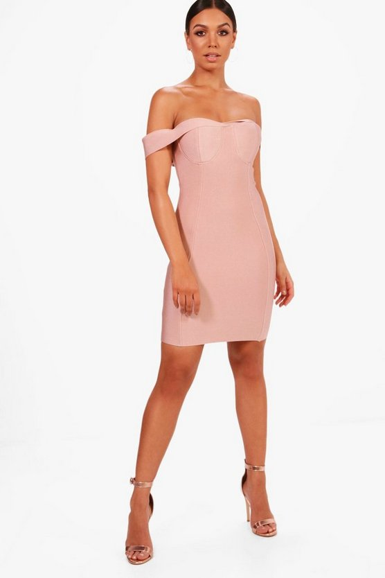 Boutique Nadia Premium Bandage Off The Shoulder Dress
