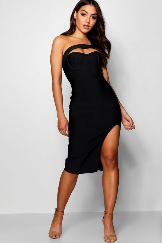 Boutique  Premium Bandage One Shoulder Dress