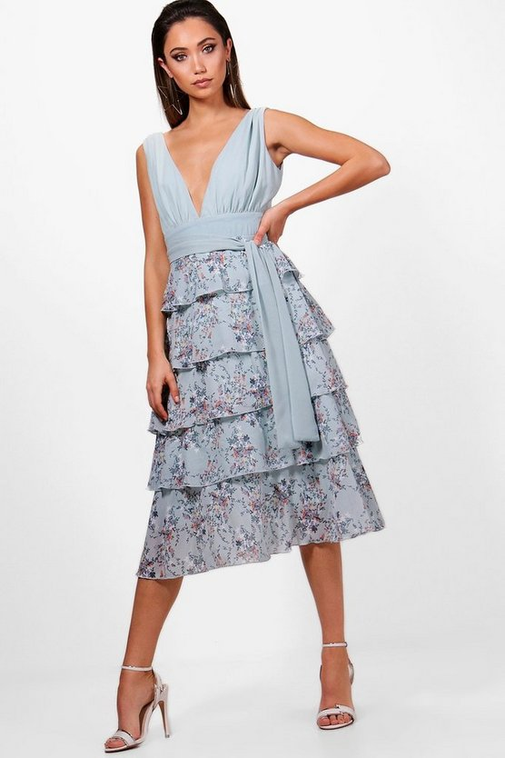 Nancy Ditsy Belted Ruffle Midi Dress