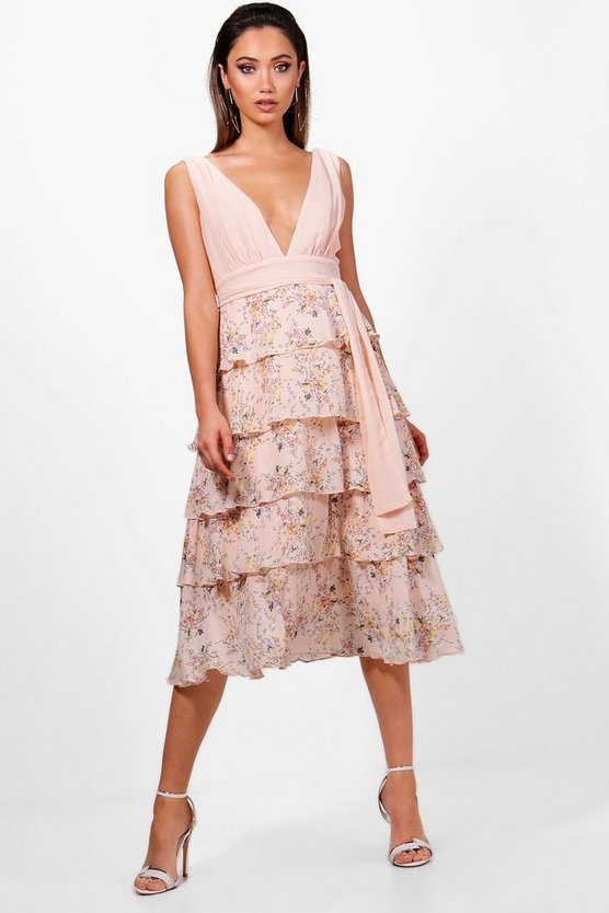 Ditsy Belted Ruffle Midi Dress