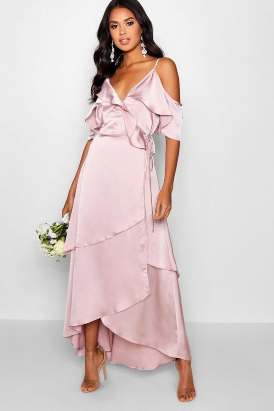 Sophia Satin Ruffle Wrap Maxi Dress