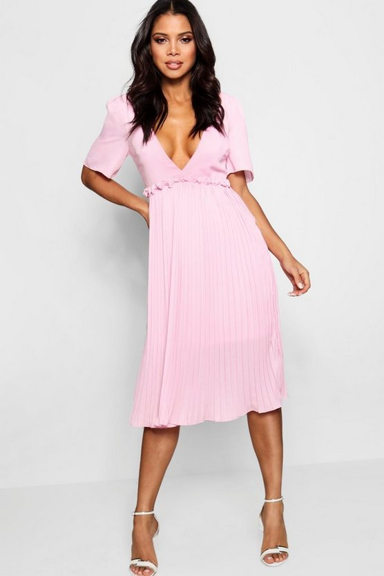 Boutique Pleat and Ruffle Detail Midi Dress