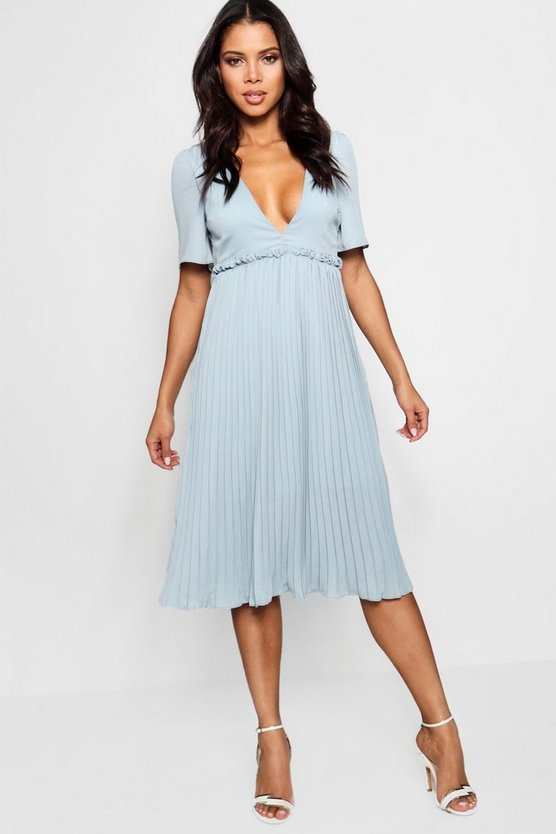 Boutique Si Pleat and Ruffle Detail Midi Dress