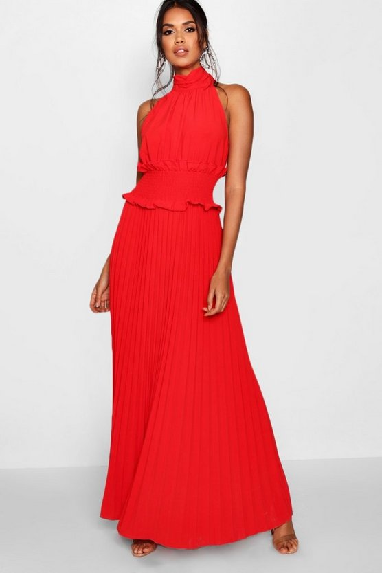 Tabetha Shirred Waist Pleated Maxi Dress