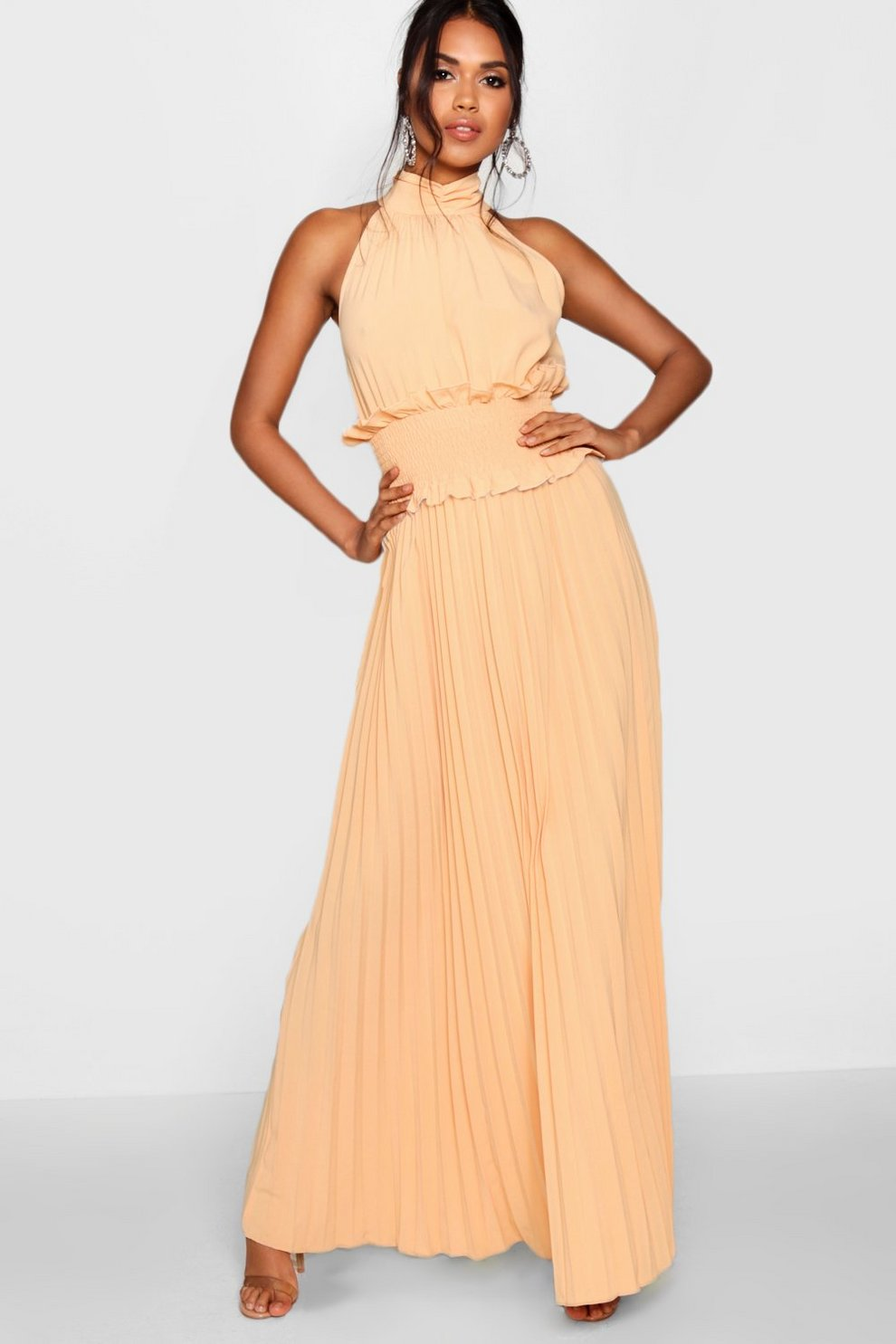 Boohoo Shirred Waist Pleated Maxi Dress Explore 100% Original For Sale VXIA9H