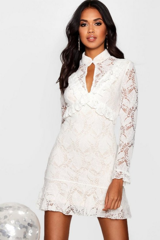 Boutique Ray Peplum Hem Lace Bodycon Dress