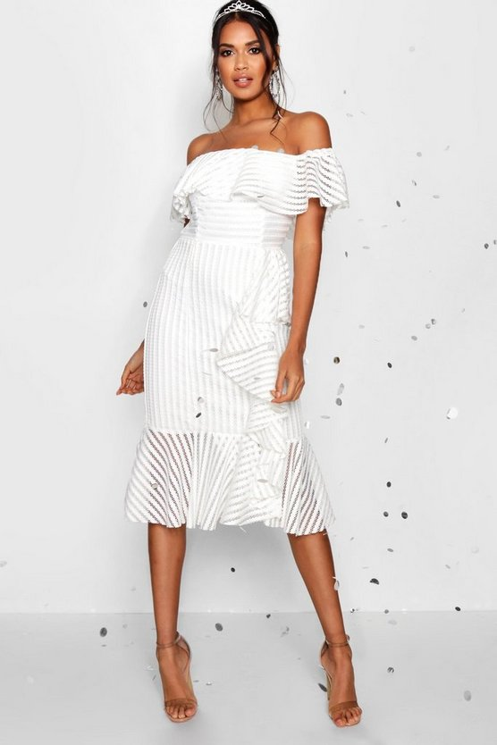 Boutique Frill Detail Peplum Hem Midi Dress