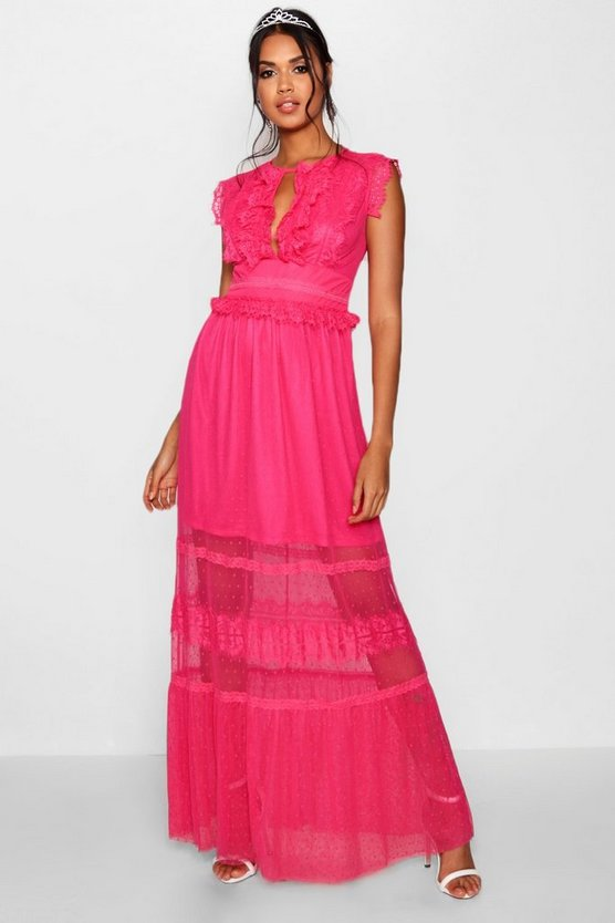 Boutique Dobby and Mesh Maxi Dress