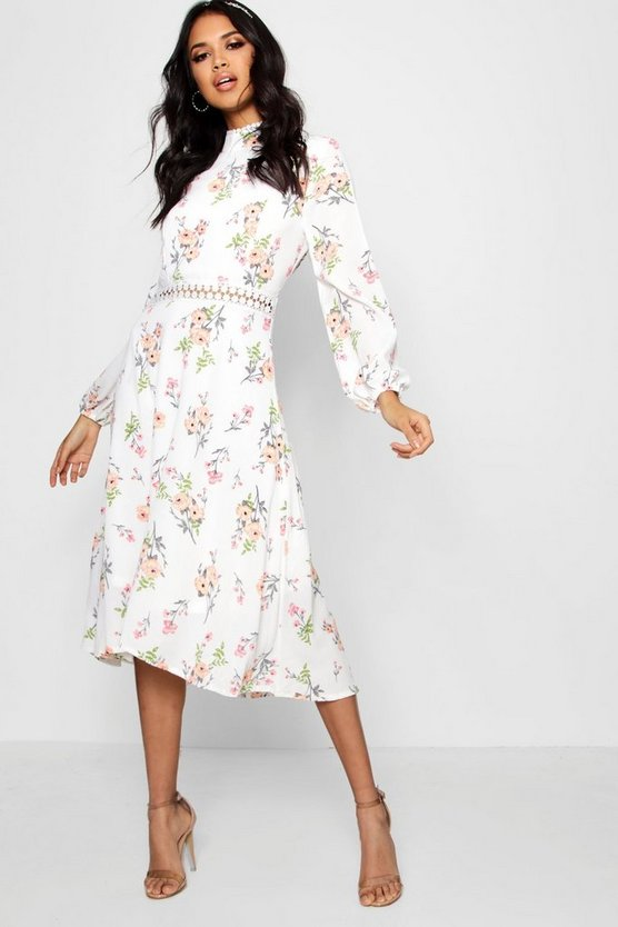Boutique Isla Floral Long Sleeve Skater Dress