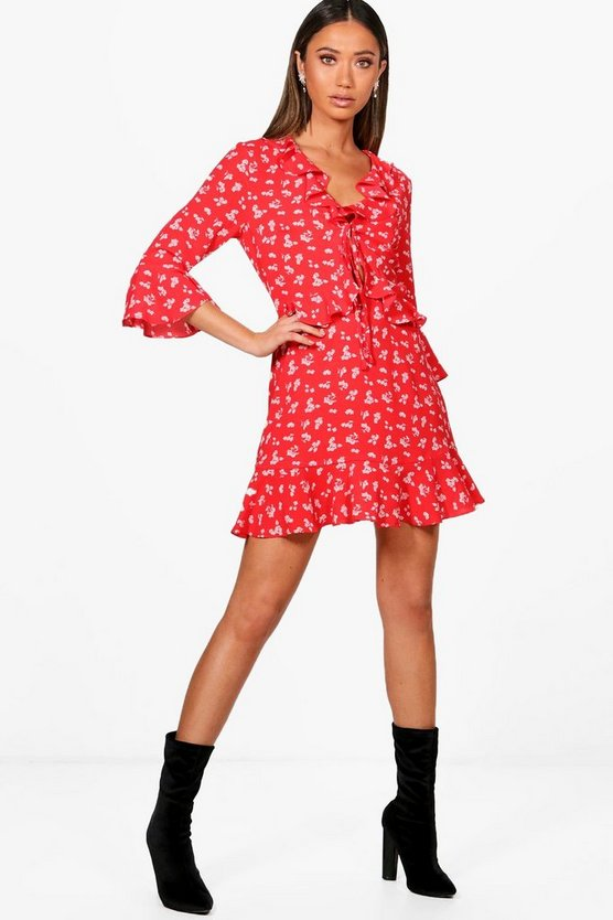 Verena Ditsy Ruffle Cutout Tea Dress