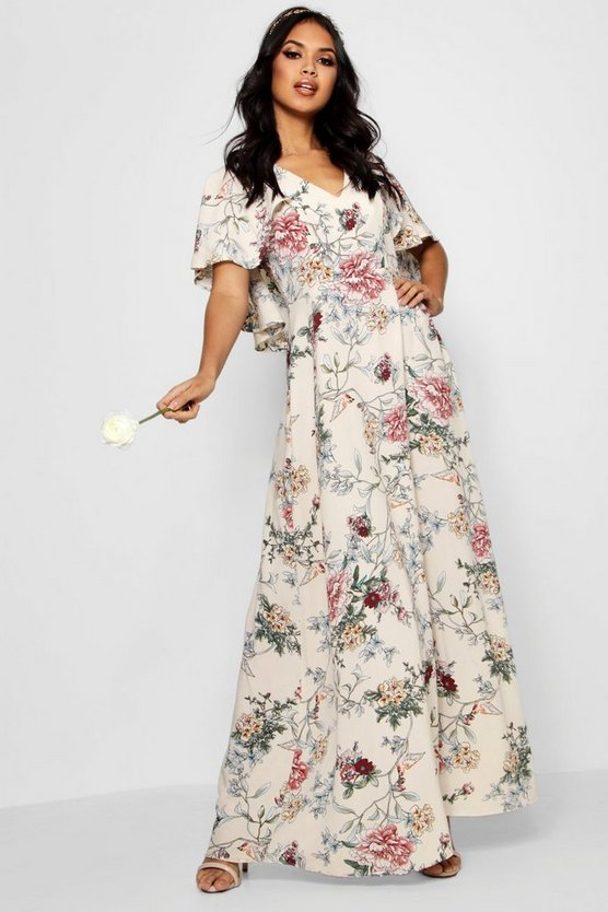 Boutique Mallorie Floral Cape Maxi Dress