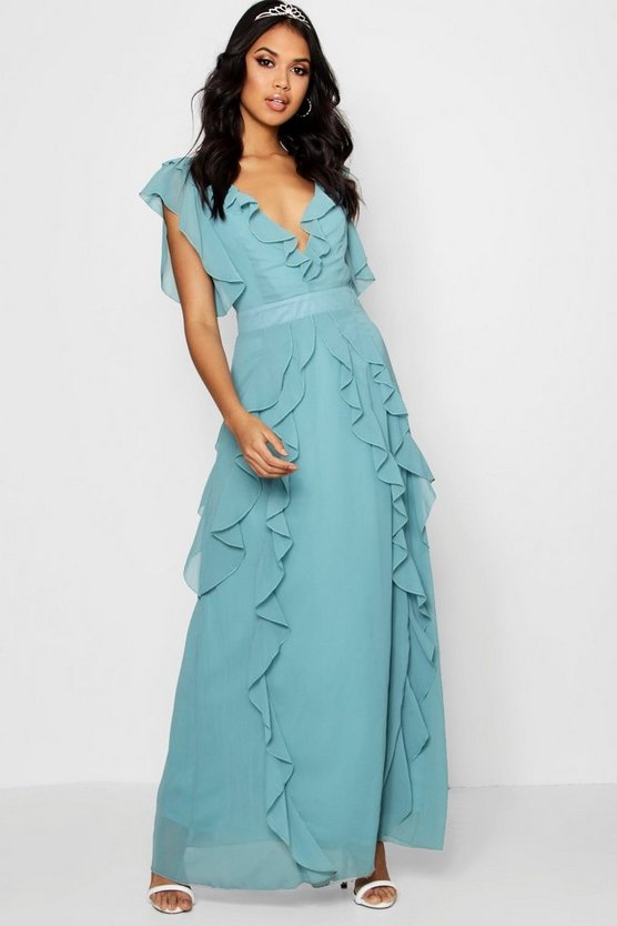 Boutique Waterfall Ruffle Maxi Dress